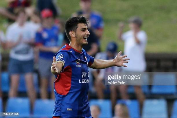 Johnny Koutroumbis of the Jets celebrates his goal during the round 12 ALeague match between the Newcastle Jets and the Western Sydney Wanderers at...