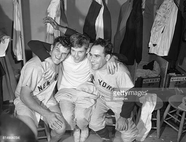 Johnny Kucks who pitched shutout ball to win the final game of the series is laughing it up in the dressing room with teammates Bill Moose Skowron...