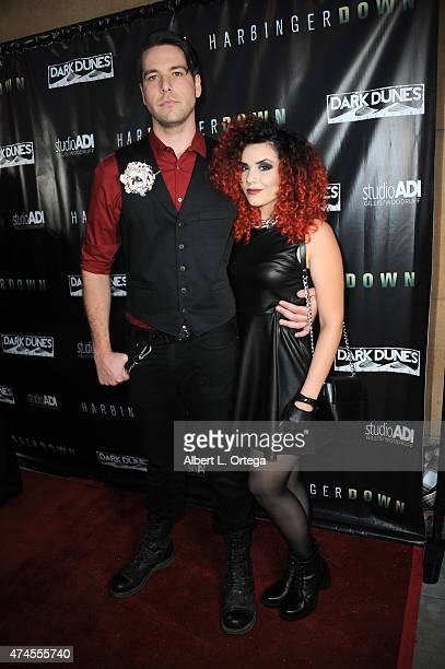 Johnny Leftwich and Alana Rose arrive for the Premiere Of 'Harbinger Down' held at the Egyptian Theatre on April 28 2015 in Hollywood California