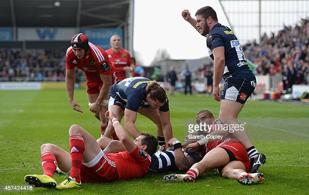 Johnny Leota celebrates scoring his first half try against Munster during the European Rugby Champions Cup match between Sale Sharks and Munster at...