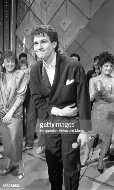 Johnny Logan at the Gaiety Theatre winning the Euro Song, circa March 1987 .