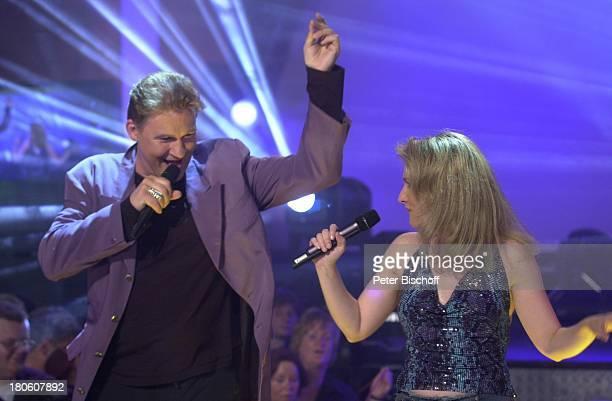 """Johnny Logan, Sängerin Nicole , ARD-Musikshow """"Das Festival des deutschen Schlagers""""7, Bremen, """"Aladin"""", Bühne, Auftritt, singen, Sänger, Sängerin,..."""