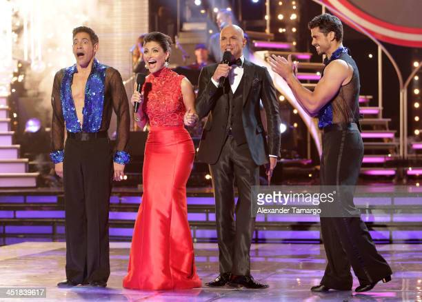 Johnny Lozada Chiquinquira Delgado Javier Poza and Pedro Moreno participate in Univision's Mira Quien Baila Grand Finale at Univision Headquarters on...