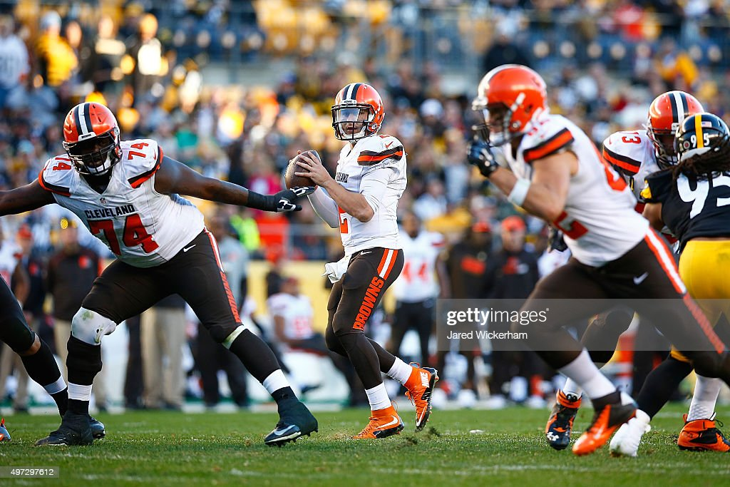 Johnny Manziel #2 of the Cleveland Browns looks to pass during the 2nd half of the game against the Pittsburgh Steelers at Heinz Field on November 15, 2015 in Pittsburgh, Pennsylvania.
