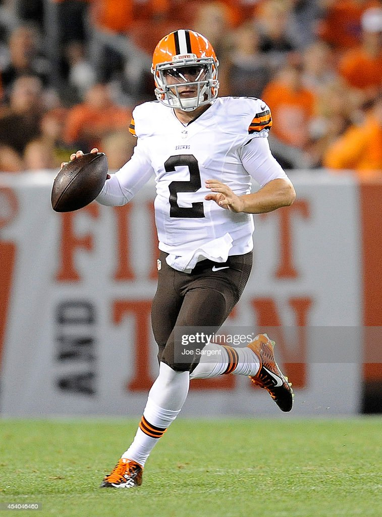 Johnny Manziel #2 of the Cleveland Browns looks to pass during the fourth quarter against the St. Louis Rams at FirstEnergy Stadium on August 23, 2014 in Cleveland, Ohio. St. Louis won the game 33-14.