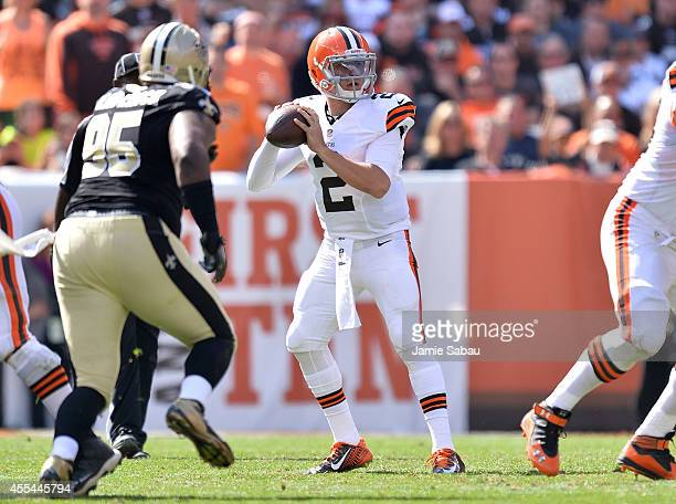 Johnny Manziel of the Cleveland Browns looks to pass during the third quarter against the New Orleans Saints at FirstEnergy Stadium on September 14...