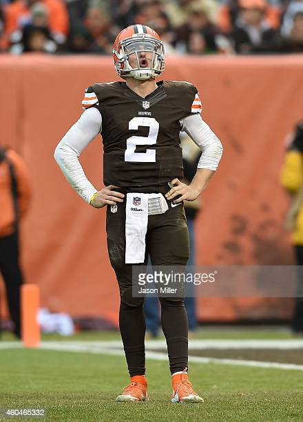 Johnny Manziel of the Cleveland Browns reacts after being sacked during the third quarter against the Cincinnati Bengals at FirstEnergy Stadium on...