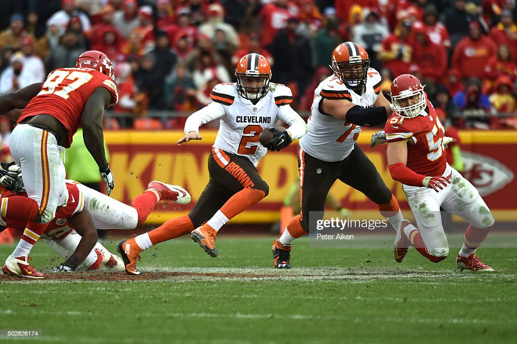 Johnny Manziel #2 of the Cleveland Browns rushes out of the pocket at Arrowhead Stadium during the fourth quarter of the game against the Kansas City Chiefs on December 27, 2015 in Kansas City, Missouri.