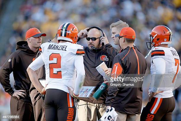 Johnny Manziel of the Cleveland Browns talks with Head Coach Mike Pettine during the 2nd half of the game against the Pittsburgh Steelers at Heinz...