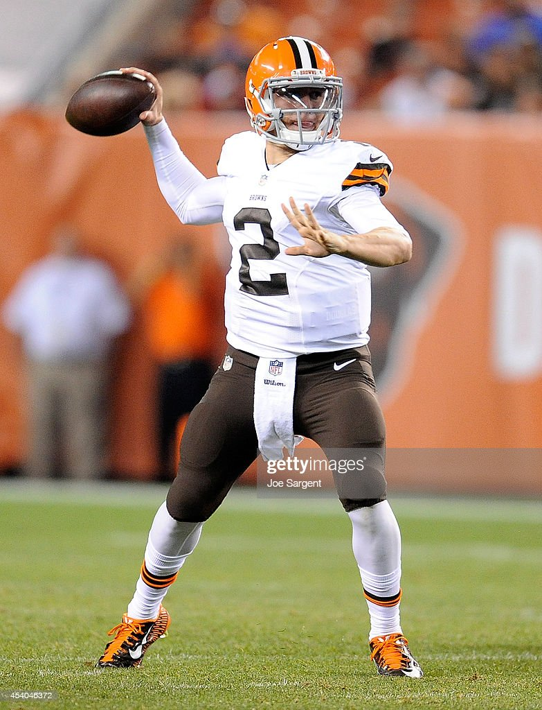 Johnny Manziel #2 of the Cleveland Browns throws a pass during the fourth quarter against the St. Louis Rams at FirstEnergy Stadium on August 23, 2014 in Cleveland, Ohio. St. Louis won the game 33-14.