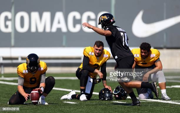 89aad5e357f Johnny Manziel of the Hamilton TigerCats takes part in a preseason practice  session at Ron Joyce