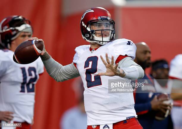 Johnny Manziel of the Memphis Express warms up before taking on the the Birmingham Iron during their Alliance of American Football game at Liberty...