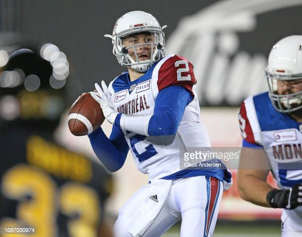 Johnny Manziel of the Montreal Alouettes fires a pass against the Hamilton TigerCats in a CFL game at Tim Hortons Field on November 3 2018 in...