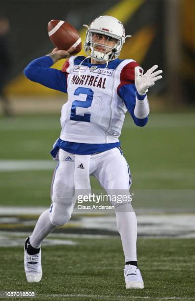 Johnny Manziel of the Montreal Alouettes warms up prior to action against the Hamilton TigerCats in a CFL game at Tim Hortons Field on November 3...