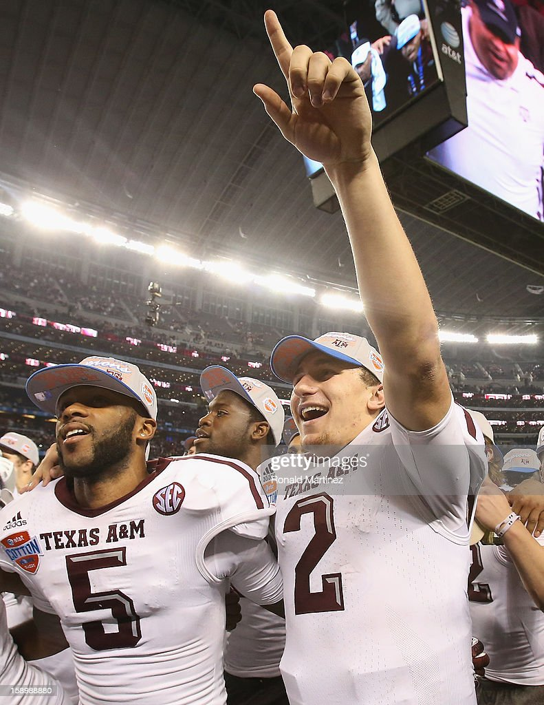 Johnny Manziel #2 of the Texas A&M Aggies celebrates a 41-13 win against the Oklahoma Sooners during the Cotton Bowl at Cowboys Stadium on January 4, 2013 in Arlington, Texas.
