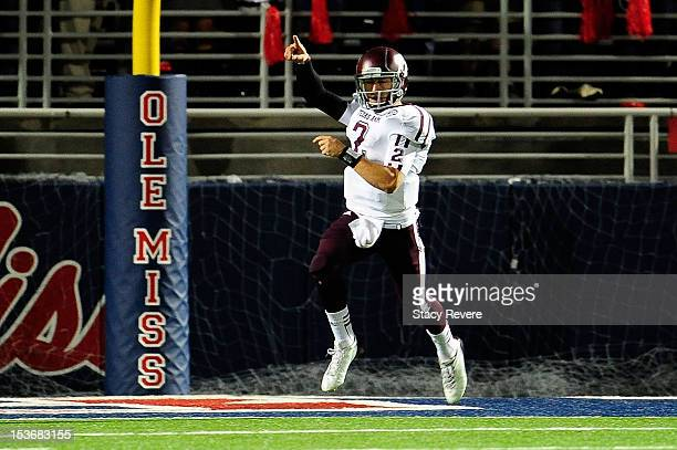 Johnny Manziel of the Texas AM Aggies celebrates a touchdown against the Ole Miss Rebels during a game at VaughtHemingway Stadium on October 6 2012...