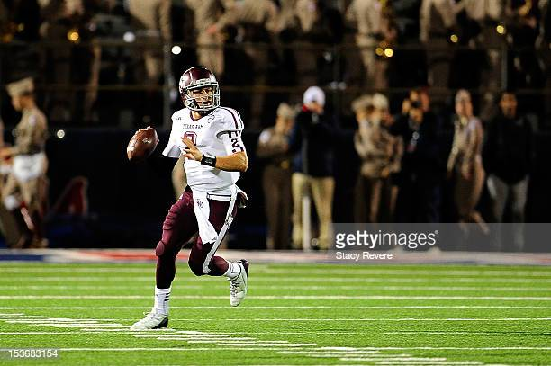 Johnny Manziel of the Texas AM Aggies drops back to pass against the Ole Miss Rebels during a game at VaughtHemingway Stadium on October 6 2012 in...