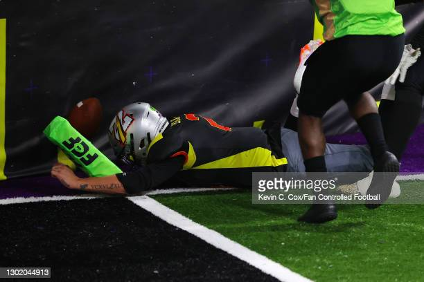 Johnny Manziel of the Zappers dives short of the end zone against the Beasts at Infinite Energy Arena on February 13, 2021 in Duluth, Georgia.