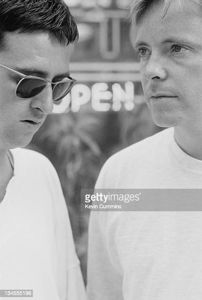 Johnny Marr and Bernard Sumner of British dance music duo Electronic Sunset Strip Los Angeles USA August 1990
