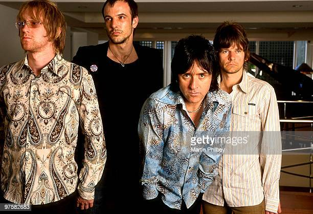 Johnny Marr And The Healers LR Lee Spencer Alonza Bevan Johnny Marr and Zak Starkey pose foor a portrait session at the Hotel Como on 19th February...