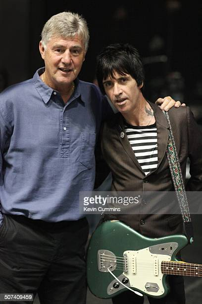 Johnny Marr backstage with Manchester City Assistant Manager Brian Kidd at City Live Manchester City Football Club's Season Launch Party at...
