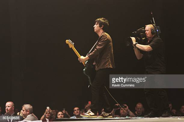 Johnny Marr performs on stage at City Live Manchester City Football Club's Season Launch Party at Manchester Central on 14th August 2014