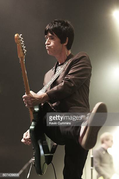Johnny Marr performs on stage at City Live, Manchester City Football Club's Season Launch Party, at Manchester Central on 14th August 2014.