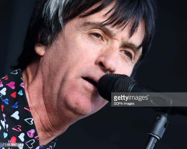 Johnny Marr seen performing live on stage during the All Points East Festival at Victoria Park in London