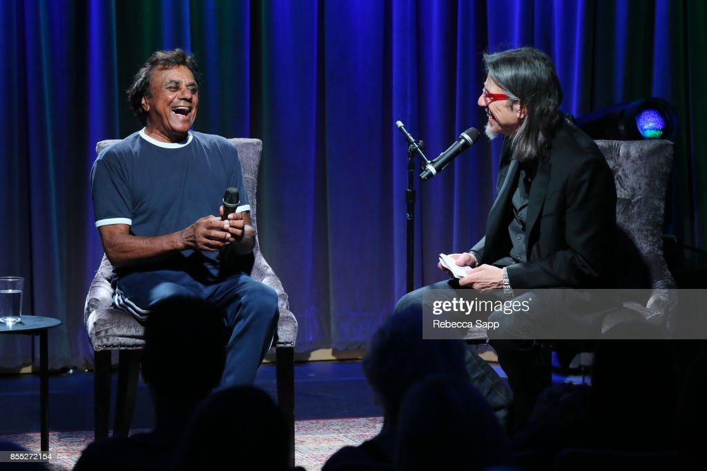 Johnny Mathis speaks with GRAMMY Museum Executive Director Scott Goldman at Celebrating The Great New American Songbook With Johnny Mathis And Clive Davis Featuring special guest Kenny 'Babyface' Edmonds at The GRAMMY Museum on September 28, 2017 in Los Angeles, California.