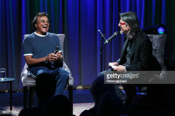 Johnny Mathis speaks with GRAMMY Museum Executive Director Scott Goldman at Celebrating The Great New American Songbook With Johnny Mathis And Clive...
