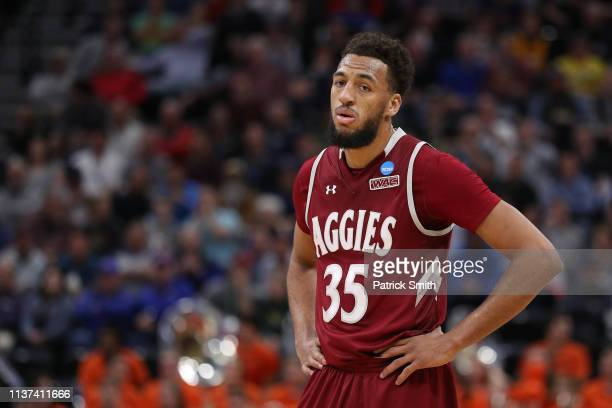 Johnny McCants of the New Mexico State Aggies reacts during the second half against the Auburn Tigers in the first round of the 2019 NCAA Men's...