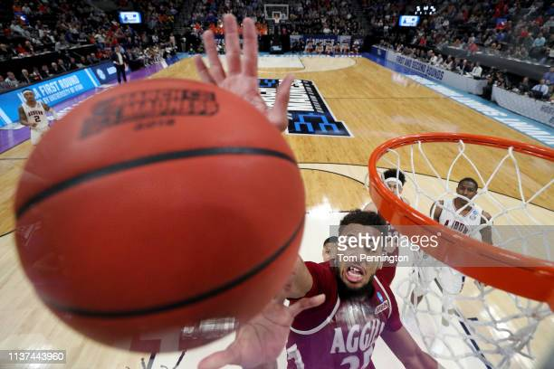 Johnny McCants of the New Mexico State Aggies rebounds the ball against the Auburn Tigers during the second half in the first round of the 2019 NCAA...
