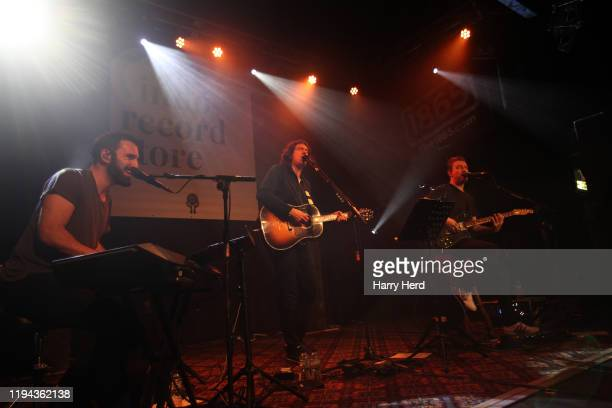 Johnny McDaid and Gary Lightbody and Nathan Connolly of Snow Patrol perform on the Reworked Live Album Launch at The 1865 on December 16, 2019 in...