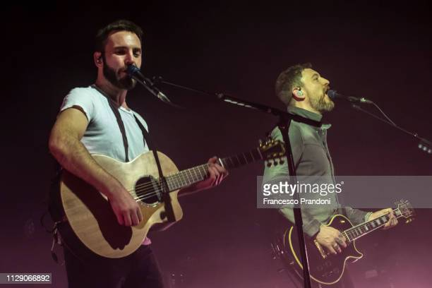 Johnny McDaid and Nathan Connolly of Snow Patrol perform on stage at Fabrique on February 11 2019 in Milan Italy