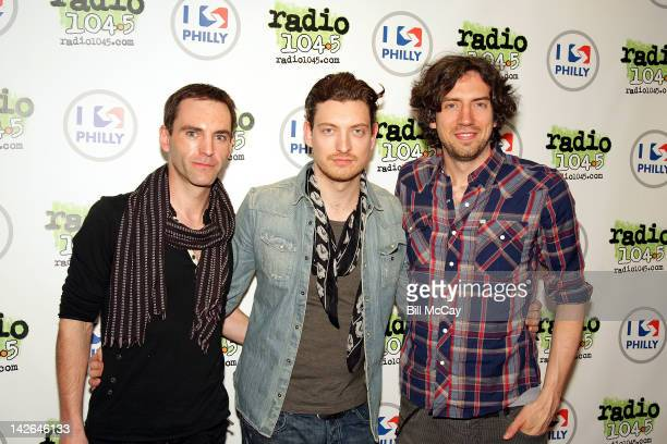 Johnny McDaid, Nathon Connolly and Gary Lightbody from the band Snow Patrol pose at Radio Station WRFF iHeartRadio Performance Theater April 10, 2012...