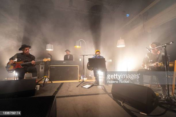 Johnny McElhone, Eddie Campbell, Sharleen Spiteri and Tony McGovern of Texas perform on stage at The Queen's Hall on September 06, 2021 in Edinburgh,...