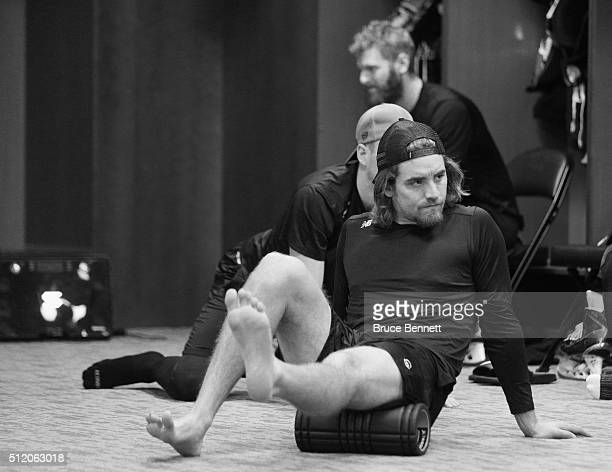 Johnny McInnis of Orlando Solar Bears works out prior to a game against the Atlanta Gladiators at the Amway Center on February 13 2016 in Orlando...