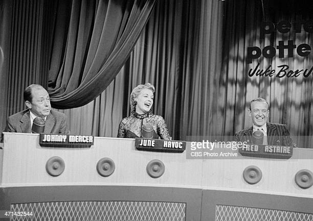 Johnny Mercer June Havoc and Fred Astaire on Juke Box Jury Image dated April 30 1955
