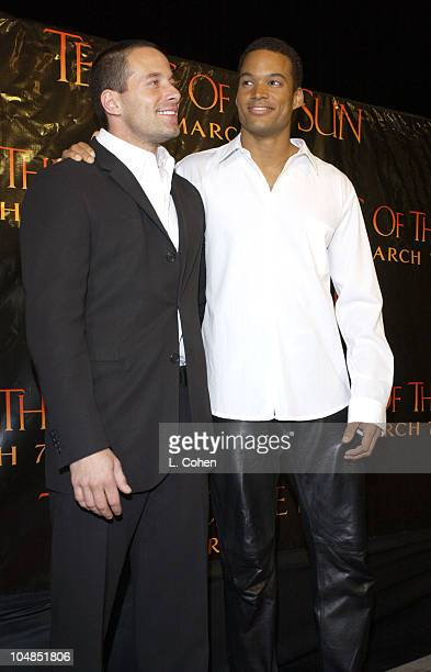 Johnny Messner and Charles Ingram during 'Tears Of The Sun' Premiere at Mann's Village in Westwood California United States