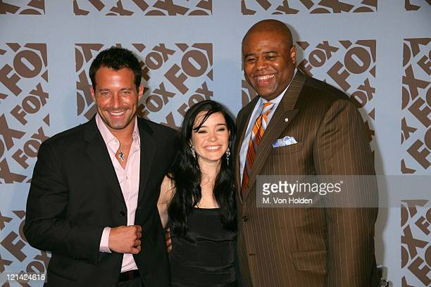 Johnny Messner Marguerite Moreau Chi McBride during Fox announces the 20052006 Primetime Slate at The Central Park Boathouse in New York New York...