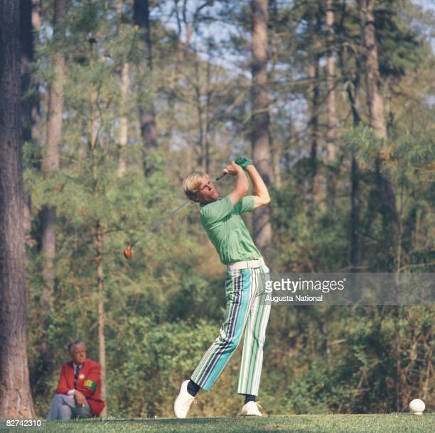 Johnny Miller tees off on number 11 during the 1971 Masters Tournament at Augusta National Golf Club in April 1971 in Augusta, Georgia.