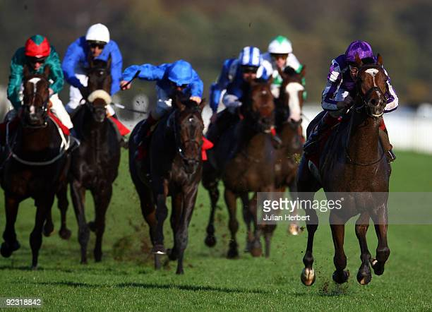 Johnny Murtagh and St Nicholas Abbey lead the field home to land The Racing Post Trophy Race run at Doncaster Racecourse on October 24 2009 in...