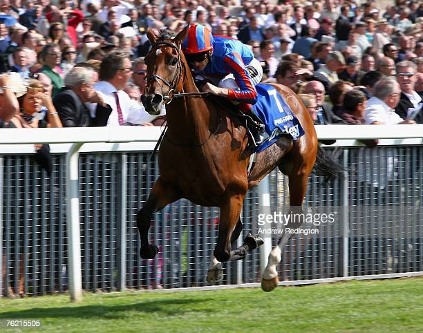 Johnny Murtagh rides Peeping Fawn to victory in The Darley Yorkshire Oaks during The Ebor Festival at York Racecourse on August 22 2007 in York...