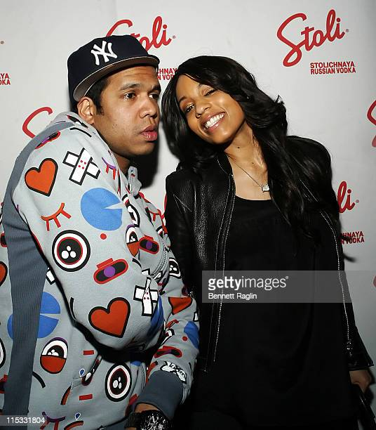 Johnny Nunez and Melyssa Ford during Johnny Nunez 10 Years of Entertainment Photography Sponsored by Stoli Vodka at Home in New York New York United...