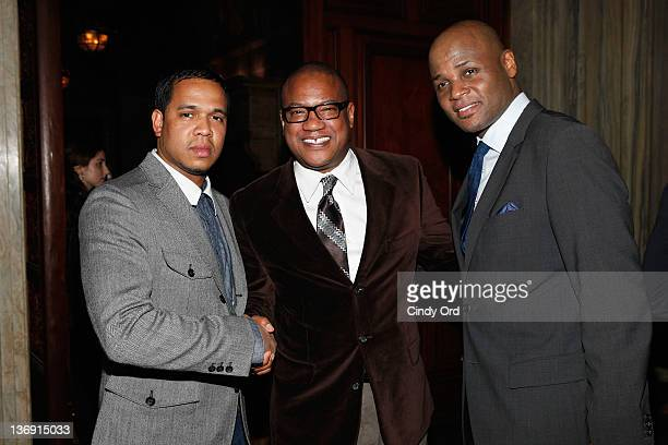 Johnny Nunez Greg Cunningham and a guest attend the Target salute to Miko Branch and Titi Branch to celebrate being named two of Ebony Magazine's...