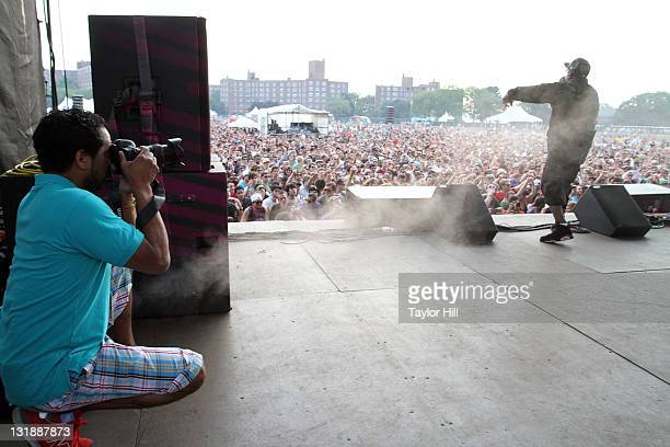 Johnny Nunez photographs Big Boi as he performs during the 2011 Governors Ball music festival on Governors Island on June 18 2011 in New York City
