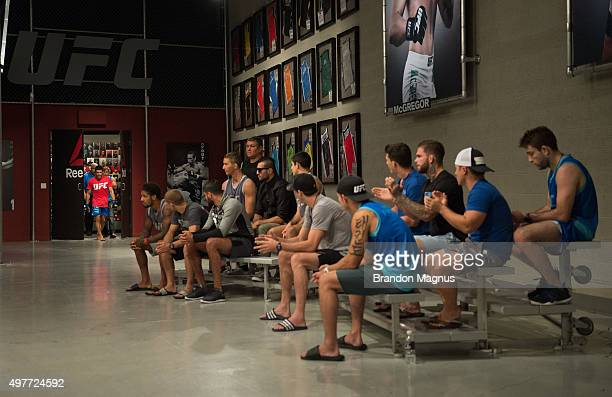 Johnny Nunez prepares to enter the Octagon before facing David Teymur during the filming of The Ultimate Fighter: Team McGregor vs Team Faber at the...