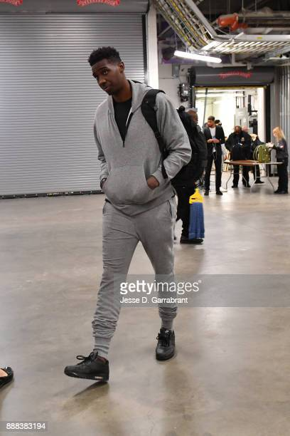 Johnny O'Bryant III of the Charlotte Hornets arrives at the arena before the game against the Detroit Pistons on October 18 2017 at Little Caesars...