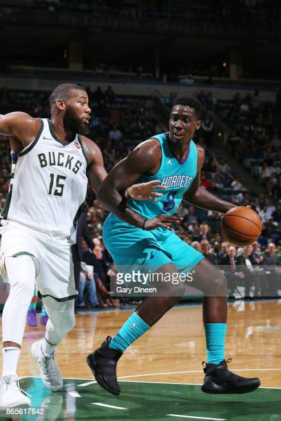 Johnny O'Bryant III of the Charlotte Hornets handles the ball against the Milwaukee Bucks on October 23 2017 at the BMO Harris Bradley Center in...