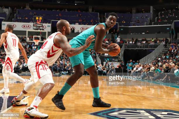 Johnny O'Bryant III of the Charlotte Hornets handles the ball against the Houston Rockets on October 27 2017 at Spectrum Center in Charlotte North...